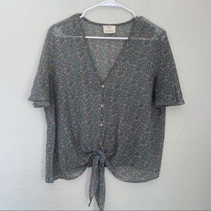 UO Pins & Needles Floral Button Front Blouse Tie